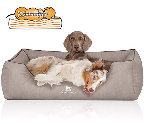 Knuffelwuff Orthopädisches Hundebett Tampa aus laser-gestepptem Kunstleder XXL 120 x 85cm Grau