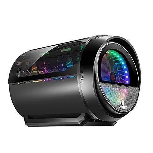 BBNB Caso De Juego, Mid-Tower PC Funda De Juego M-ATX/ITX - Frente E/S USB 3.0 Puerto - Panel De Vidrio Templado De Vidrio-Agua Instalación De Enfriamiento Listo, Negro