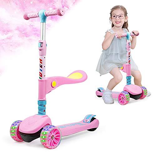 KinderScooter, Roller Kinder, Scooter Kinder, Kinderroller mit 3 LED-Rädern, geeignet für Jungen und Mädchen, faltbar, höhenverstellbar, geeignet für Kinder von 2 bis 12 Jahren