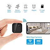 1080P WiFi Spy Camera Mini Hidden Camera Wireless Home Security Camera with Audio and Video Recording, Night Vision Alters Notification Nanny Cam, Remote Control for iOS and Andro
