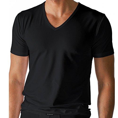 2er Pack Mey Herren Shirt - 46007 Serie Dry Cotton - Mit V-Ausschnitt - bi-elastisch - Angenehm kühl auf der Haut - Farbe Schwarz - Größe 7