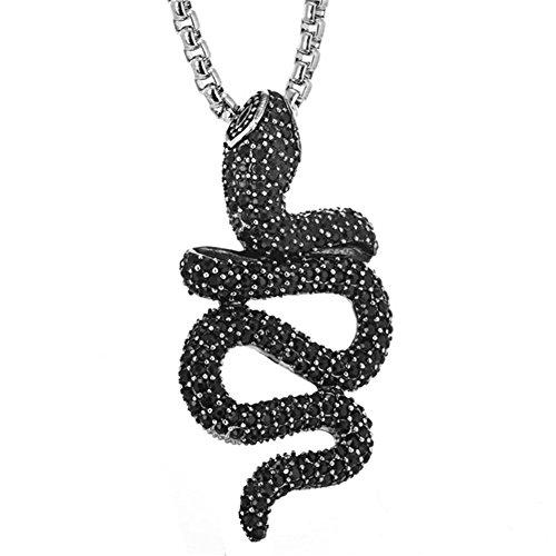 """PAURO Hombres Acero Inoxidable Negro Diamante Cz Serpiente Animal Colgante, Collar De Encanto con Cadena 24"""""""