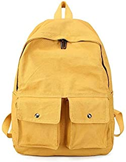 Backpack Literary Canvas Student Bag, Light Travel Bag, Solid Color College Wind Backpack,Travel Shopping Rucksack 28cm x 12cm x 41cm Pink (Color : Yellow, Size : 28cm x 12cm x 41cm)
