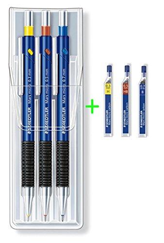 Staedtler Mars® Lot de 3 porte-mines 0,3 mm + 0,5 mm + 0,7 mm - Lot de 3 crayons de couleur avec 36 mines fines H/HB/B