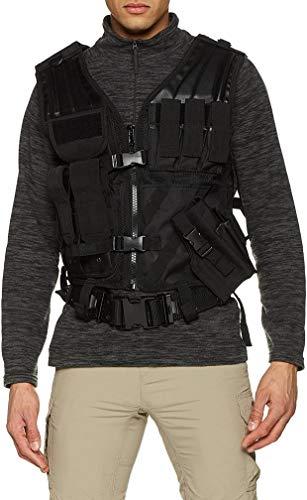 Miltec Noire Veste tactique 8 poches holster+ceinturon Adulte unisexe, Taille unique