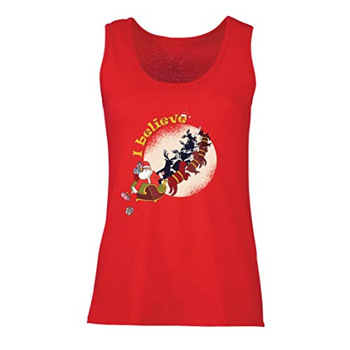 lepni.me Damen Tank-Top Glaube an Der Weihnachtsmann Weihnachtsfeiertag Druck (XX-Large Rot Mehrfarben)