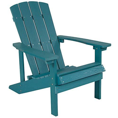 Flash Furniture Charlestown All-Weather Adirondack Chair in Sea Foam Faux Wood -