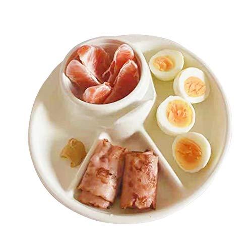 1 Plato de Desayuno Dividido, Plato Dividido para el hogar, vajilla de Desayuno, Plato de ración para Adelgazar, Estilo Aleatorio para Fiestas, Barbacoa, Uso doméstico