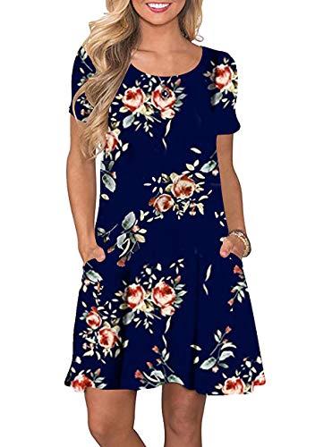 OMZIN Damen Sommermode Lässiges Bedruckt Strandmode Tunika Basic Strandkleid Blaue Rose XS