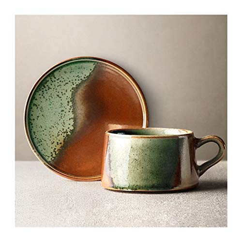 SHUNFAYOUXIANGS Taza para café, té Copa de cerámica Taza de café expreso y platillo Taza fijadas Hecha a Mano del hogar del Horno de esmaltado Taza, 8,5 oz Taza de Bebidas Calientes