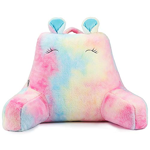 Vekkia Rainbow Faux Fur Reading amp Bed Rest Pillow with Support Arms Memory Foam Perfect Back Support Cushion for Kids/Girls Reading/Watching TV/Sitting Up in Bed  Pink