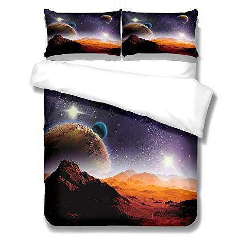 SKYZAHX Duvet cover for teen boys and girls microfiber duvet Moon Soft, skin-friendly and comfortable 3D printed duvet cover with duvet cover 86 X 102 inch 2 pillowcases 20 x 28inch