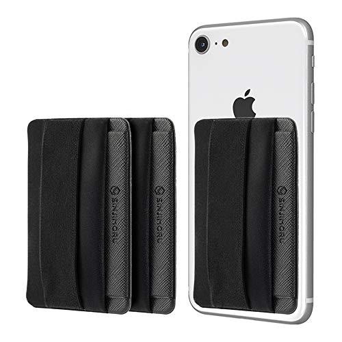 Sinjimoru Smartphone Kartenhalter mit Handygriff, Handy Halterung Finger mit Kartenfach für iPhone & Android. Sinji Pouch B-Flap, Schwarz [3 Stück].