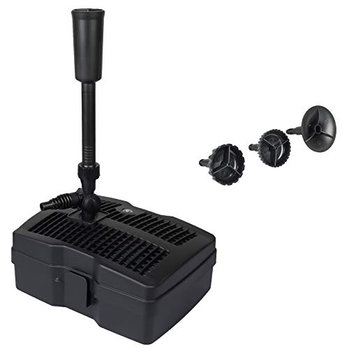 Yorbay CUF-6000 4 in 1 Teichpumpe Springbrunnenpumpe mit Filter, UV-Klärer, 2500l/h, mit 10m Stromkabel für Garten- und Springbrunnengestaltung (Mehrweg)