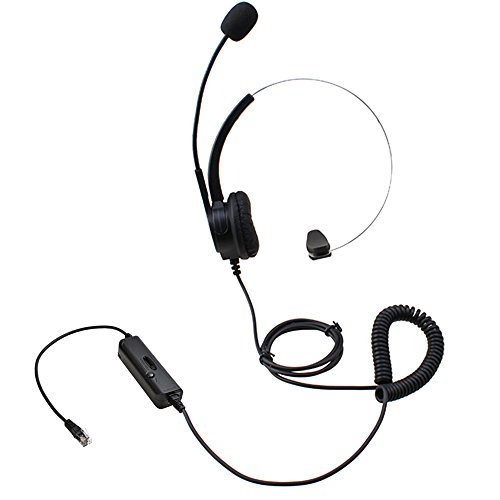 Monoaurale cuffia RJ9 cristallo testa a 4 pin, AGPtEK® mani libere Call Center Noise Cancelling filo monofonico Cuffia per escursioni telefono con 4-pin RJ9 cristallo testa