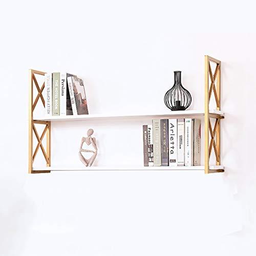 WWZWJ Zwevende plank Wandplank, Pine Houten Vloer + Gouden Staal Frame, 2-laags Wandmontage Bloem Stand/Boek Plank, Voor Slaapkamer/Woonkamer/Keuken/Badkamer