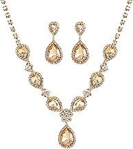 2 Pack Champagne Crystal Rhinestone Teardrop Necklace Link Bracelet Teardrop Dangle Earrings Jewelry Sets for Women Girls, Womens Bridal Wedding Bridesmaid Party Birthday Prom Jewelry Gift.
