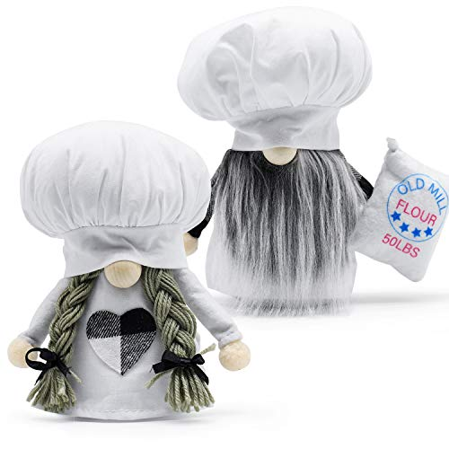 Kitchen Chef Gnomes Plush Farmhouse Decor, Scandinavian Mr & Mrs Cooking Tomte Figurine Elf Doll for Kitchen Table Tray Display, Mother's Day Wedding Kitchen Gifts
