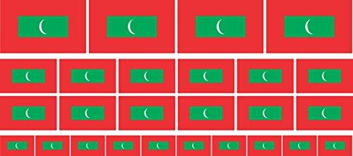 Mini Aufkleber Set - Pack glatt - 4x 51x31mm+ 12x 33x20mm + 10x 20x12mm- Sticker - Malediven - Flagge - Banner - Standarte fürs Auto, Büro, zu Hause & die Schule - Set of 26