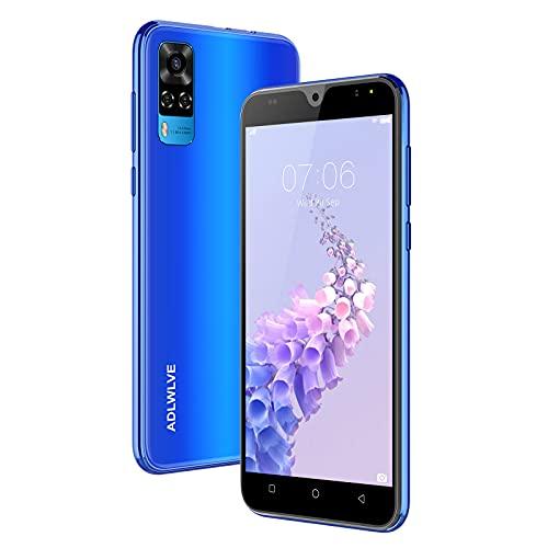 Telephone Portable 4G, (2021) Smartphone Pas Cher 5.5 Pouces 16Go /64 Go ROM,2Go RAM, Android 9,0, Double SIM Face ID/GPS,3600mAh Téléphone Portable Pas Cher sans Forfait-Bleu