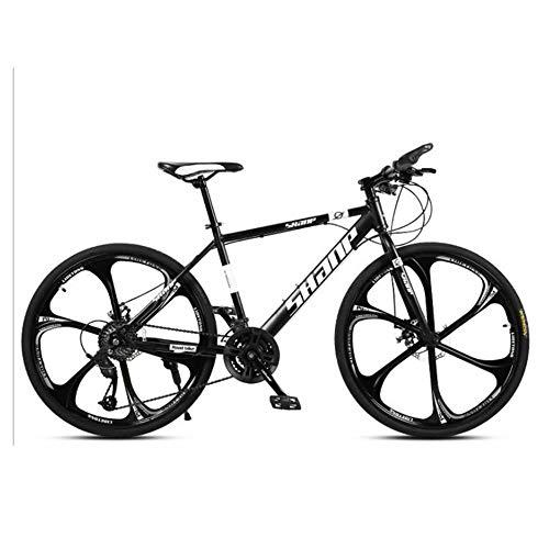 NOVOKART Mountain Bike Unisex, Bicicletas de Montaña 24,26 Pulgadas, para Hombre y Mujer MTB Bike con Asiento Ajustable, Freno de Doble Disco, Negro, 6 Cortadores Rueda