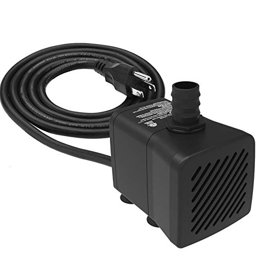 Submersible Water Pump Ultra Quiet with Pre-Filter and Dry Burning Protection 300 GPH for Fountains, Hydroponics, Ponds, Aquariums & More