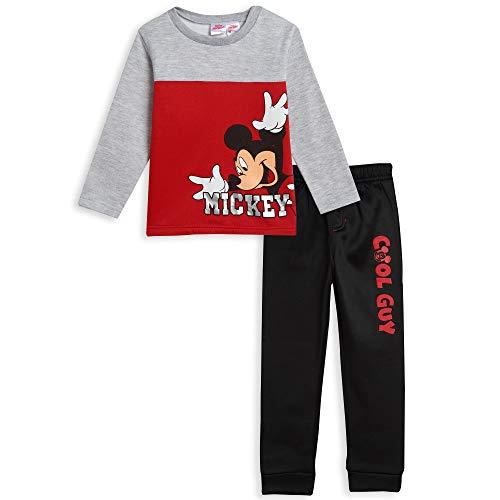 Disney Mickey Mouse Toddler Boys Fleece Jogger T-Shirt Pant Set Red/Gray 5T