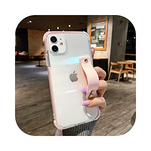 Funda suave para teléfono con correa de muñeca transparente para iPhone 11 12 Mini Pro Max X XR Xs Max 7 8 Plus SE 2020 Caramelo Kickstand Carcasas Cover - Rosa - Para iPhone 11