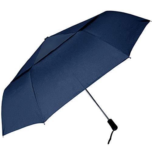 Regenschirm XL 115cm automatischer Taschenschirm Auf-Zu-Automatik sturmsicher Doppeldach Windproof Partnerschirm groß stabil Farbe: Blau
