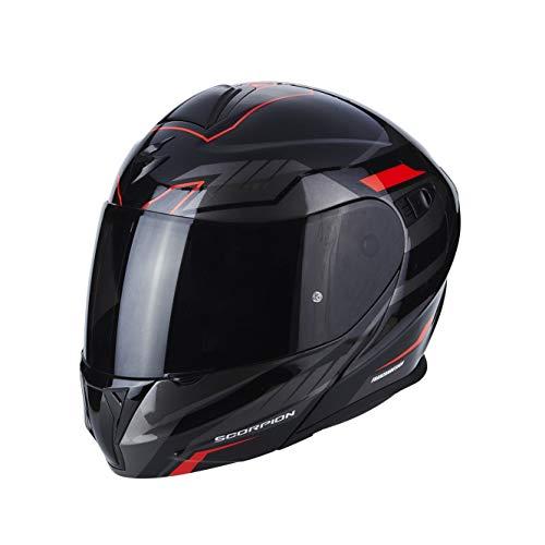 Scorpion Casco de moto EXO 920 Shuttle Negro Plata Rojo, Negro/Rojo, S
