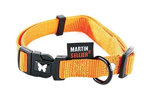 Martin Sellier - Collier Réglable en Nylon de 16-30/45 pour Chien - Orange