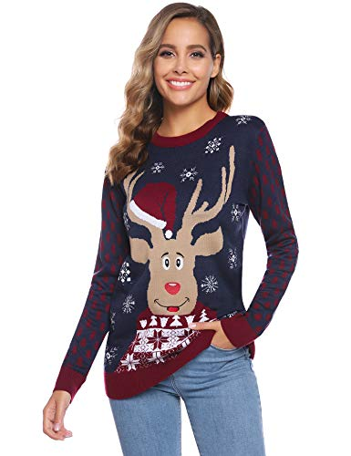 iClosam Suéter de Navidad Mujer Invierno JerséIs de Punto Cuello Redondo Jersey Navideño Regalo de Año Nuevo