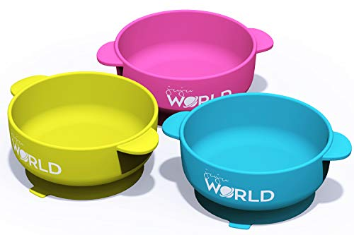 Juju World 3 Baby Bowls with High Suction Base Set - Great for Feeding Kids & Toddlers - Fridge, Microwave & Dishwasher Compatible - Eco-Friendly, BPA Free Silicone