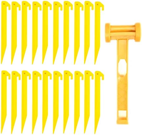 Tent Stakes HUIMS 24 Pcs Tent Pegs Plastic 1 Pcs Portable Lightweight Camping Hammer with Tent product image
