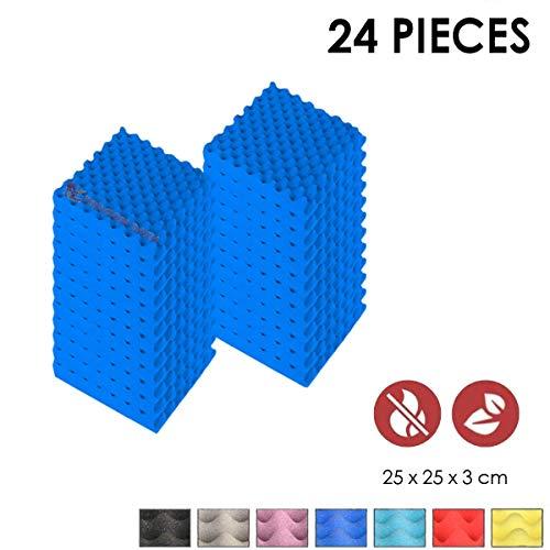 Super Dash (Pacco da 24) di 25 X 25 X 3 cm Blu Convoluted Eggcrate Schiuma Fonoassorbenti Isolanti Studio Acustici Piastrelle Pannelli SD1052 (BLU)