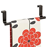 mDesign Decorative Metal Kitchen Over Cabinet Towel Bar - Hang on Inside or Outside of Doors, Storage and Display Rack for Hand, Dish, and Tea Towels - 9.2