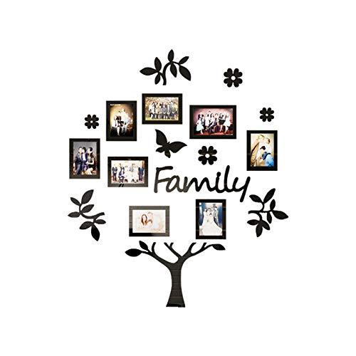 Family Tree Wandtattoo - 8 Bilderrahmen-Foto-Aufkleber - Peel and Stick Wandtattoo -3D-Wand-Aufkleber DIY-dekor-Aufkleber Mit DIY Familie Bilderrahmen (Color : Schwarz, Größe : Extra Large)