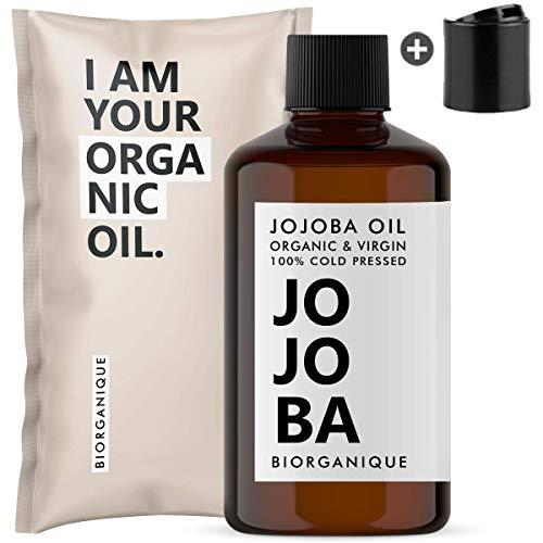 Huile de Jojoba Bio, Pure, Naturelle et Pressée à froid - 50 ml - Soin pour Cheveux, Corps, Peau, Démaquillant