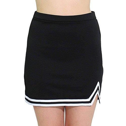 Danzcue Womens Double V A-Line Cheer Uniform Skirt, Black-White, X-Large