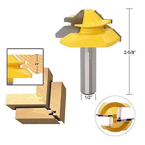 APlus Verleimfräser Gehrung Verleimfräser Oberfräse 45 Grad Lock Miter Router Bit Holzbearbeitung Fräser Schneidwerkzeug für Graviermaschine Trimmmaschine (Schaft 12,7mm (1/2 inch))
