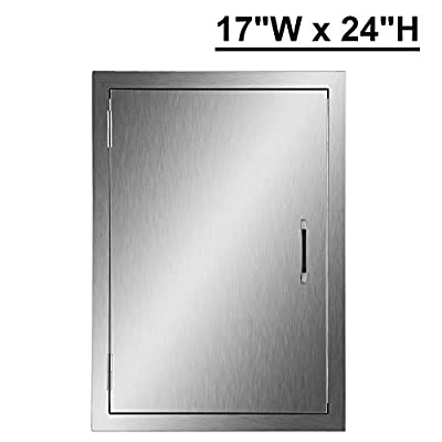 """CO-Z Upgraded Outdoor Kitchen Doors, 304 Brushed Stainless Steel Single Access BBQ Doors for Outdoor Kitchen, Commercial BBQ Island, Grilling Station, Outside Cabinet, Barbeque Grill (17"""" x 24"""")"""