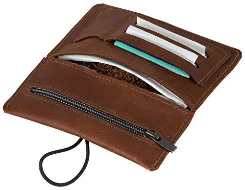 SIMARU Leder Tabaktasche für 30g Tabakbeutel, Dreher-Tasche aus Echtleder mit Filterfach & Blättchen-Halter (Braun)