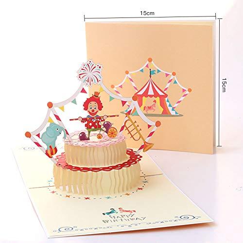 EUFANCE pastel de cumpleaños tridimensional Tarjeta de felicitación emergente 3D, aniversario cumpleaños...