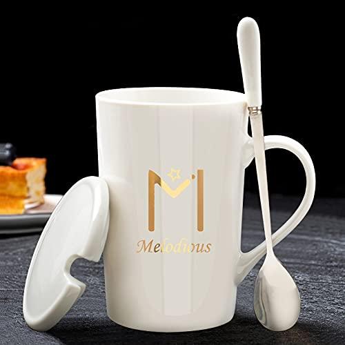 Taza de parejas con taza de cerámica de cuchara de cubierta taza de regalo 400-500ML Y