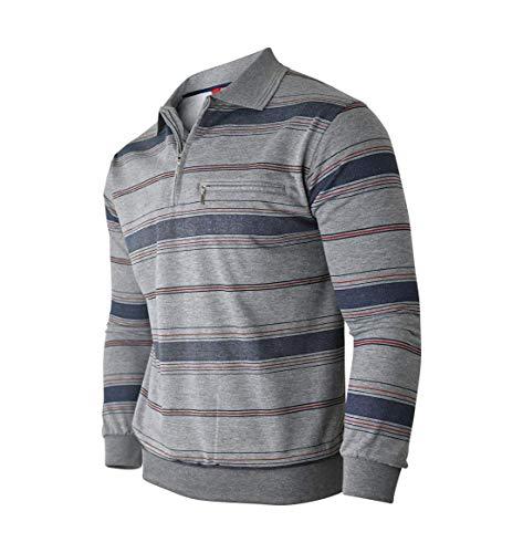 Humy Herren Langarm Sweatshirt, Gestreifte Blousonshirts, Pullover, Poloshirts aus Baumwoll-Mix (M bis 3XL) (M, [M2] Grau)