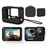 Deyard Accessories Kit for GoPro Hero 9, Upgraded Silicone Sleeve Protective Case + 6PCS Tempered Glass Screen Protector + 2PCS Rubber Lens Cover Caps, Compatible with GoPro Hero 9 Black