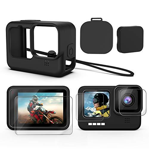 Deyard Zubehör Kit für GoPro Hero 9 Black, Silikonschutzhülle mit Gummiabdeckung + 6PCS Displayschutzfolie aus Gehärtetem Glas mit Linsenkappe für GoPro Hero 9