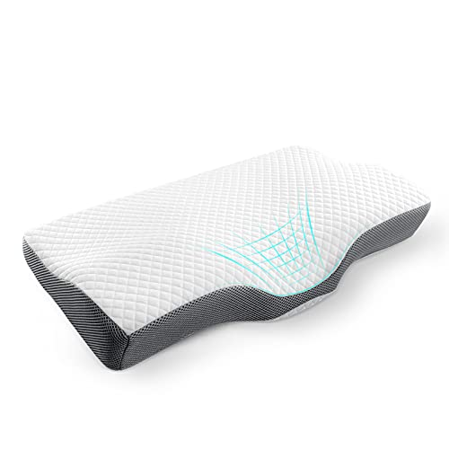 LuerJia Memory Foam Pillows for Sleeping Orthopedic Cervical Pillow for Neck Pain Relief Odorless Ergonomic Contour Pillow for Side, Back and Stomach Sleeper