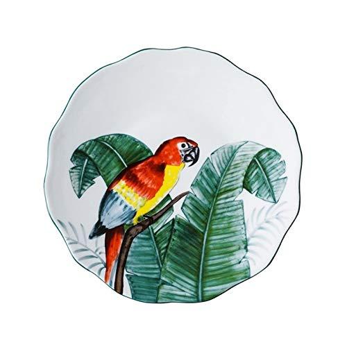 YINGYINGSM Plato de Cena Pintado a Mano 8 Pulgadas Bird Plato Sub-esmaltado Platos de la Cena de cerámica Postre Bandeja Flor del Loro Vajilla for microondas Cocina (Color : B)