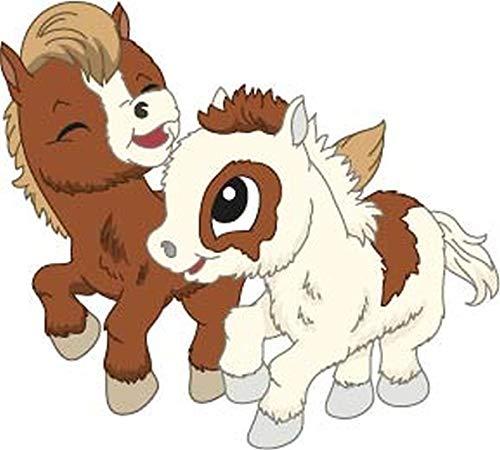 Bambinella Bügelbild Aufbügler Motiv: Pony Pferd - gedruckte Velour/Flock Applikation zum selbst Aufbügeln in 3 Größen